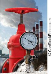 氣壓計, 管子, 熱, 閥門, 紅色