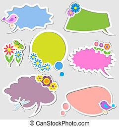 氣泡, 花, 演說, 鳥