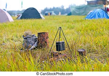 水壺, 營火