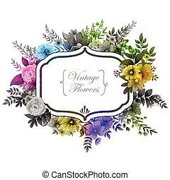 水彩, 植物, 框架, 葡萄酒