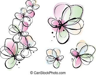 水彩, 花, 摘要, 矢量