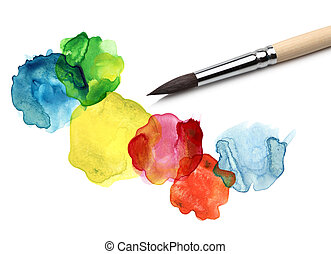 水彩, bstract, 環繞, 畫, 刷子