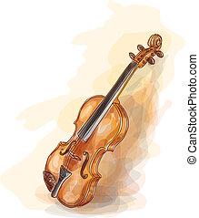 水彩, violin., style.