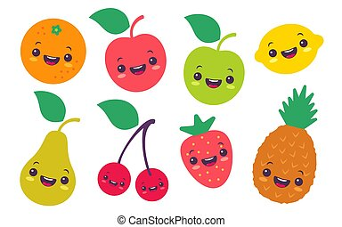 水果, 集合, 插圖, 套間, kawaii, style., 矢量