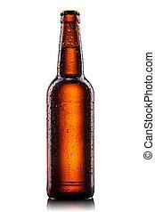 水瓶子, 被隔离, 啤酒, 下降, 白色