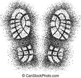 水霧, 矢量, 鞋子, 留下烙印