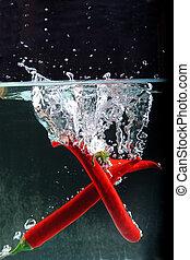 水, 干辣椒, 飛濺