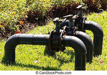 水, 控制, 泵, 閥門
