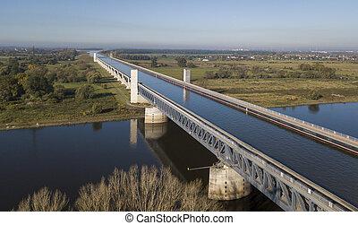 水, 橋梁, magdeburg, 空中的觀點