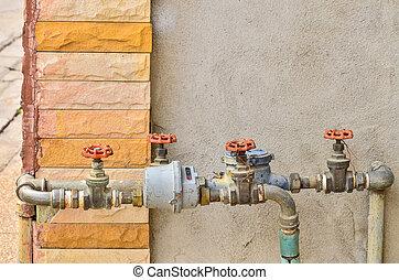 水, 鋼, 閥門, 管子