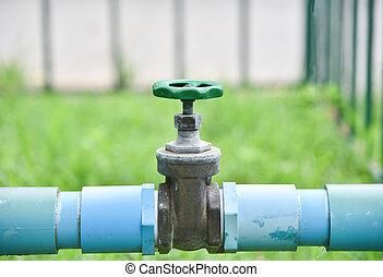 水, 關閉, 花園, 閥門, 管子, pvc