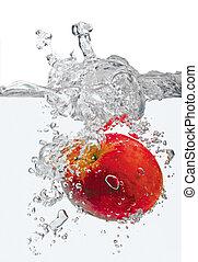 水, 飛濺, 蘋果