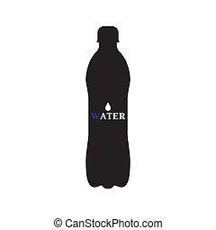 水, 黑色, 瓶子, 插圖, 矢量, 黑色半面畫像