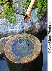 池塘, 瀑布, 竹子, 花園日語, 家