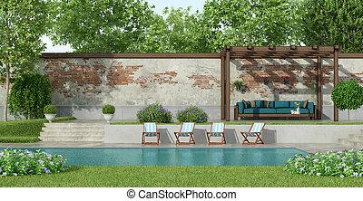 池, 大, 花園