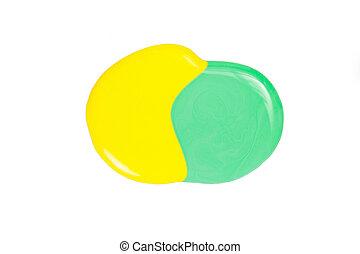 污點, 被隔离, 黃色, 釘子, 綠色的背景, 擦亮, 白色