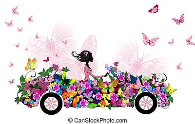 汽車女人, 花, 葡萄酒