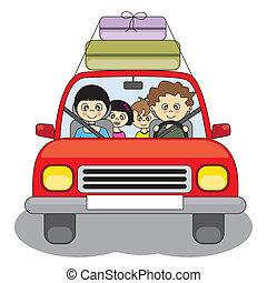 汽車, 假期, 去, 家庭