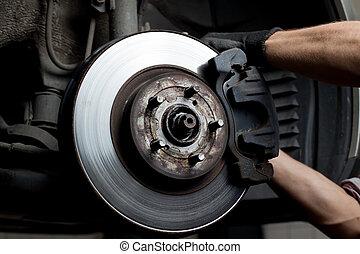 汽車, 墊, 閘, 技工, 修理