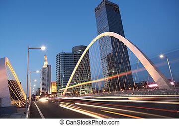 汽車, 夜晚, 橋梁, 弧, 高速公路, 風景, 城市, 形跡, 光, 大梁