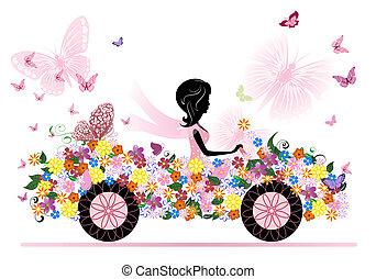 汽車, 女孩, 花, 浪漫