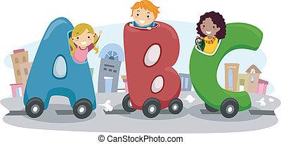汽車, 孩子, abc, 騎馬