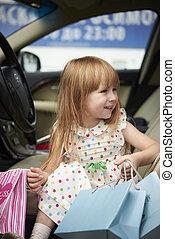 汽車, 很少, 購物, 微笑的 女孩