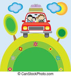 汽車, 旅行, 家庭