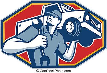 汽車, 汽車, retro, 技工, 修理