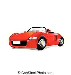汽車, 矢量, 紅色, 插圖, 運動