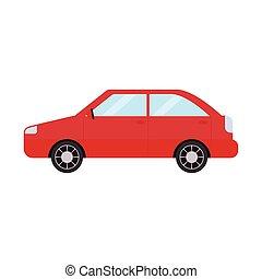 汽車, 紅的背景, 白色