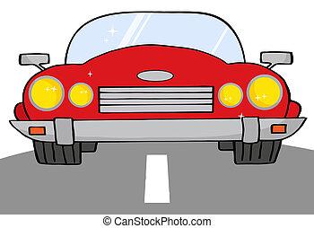 汽車, 紅色, 可改變, 路
