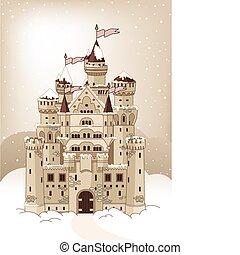 汽車, 邀請, 冬天, 魔術, 城堡