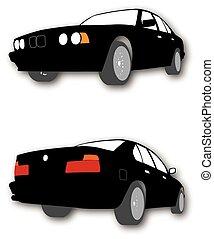 汽車, 黑色半面畫像, 矢量, 黑色