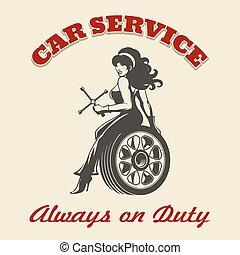 汽車, retro, 服務, 海報