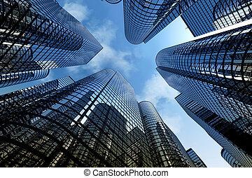 沉思, 摩天樓, 商業辦公室, 建筑物。