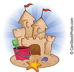 沙子海灘, 城堡, 卡通