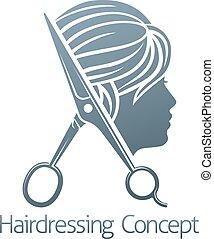 沙龍, 概念, 美容師, 頭髮, 婦女, 剪刀