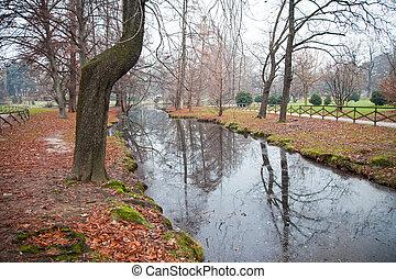 河, 公園, 秋天, milano