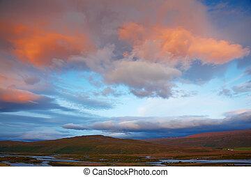 河, 冰島, skjafandafljot, 日出