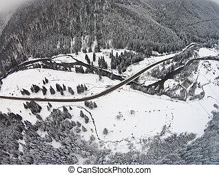 河, 山, 交叉, 冬天, 路