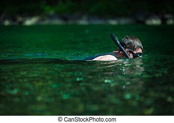 河, 年輕, snorkeling, 成人