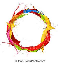 油漆, 上色, 環繞, 飛濺, 背景, 被隔离, 白色