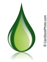 油, 燃料, 圖象, 下降, 綠色, 生物