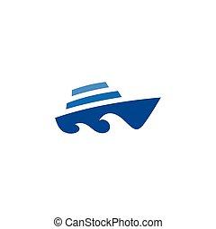 波浪, 標識語, 符號, 小船