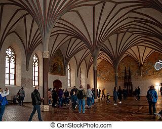 波蘭, 盛大, 最大, 大廳, 食堂, malbork, 城堡