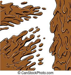 泥, 飛濺, 卡通