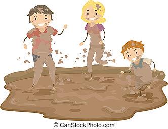 泥, stickman, 玩, 家庭