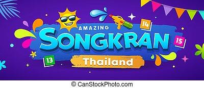 泰國, 節日, 設計, 旗幟, 惊人, 鮮艷, songkran