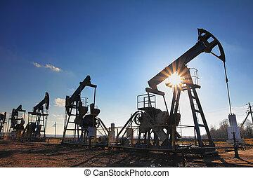泵, 油, 黑色半面畫像, 工作